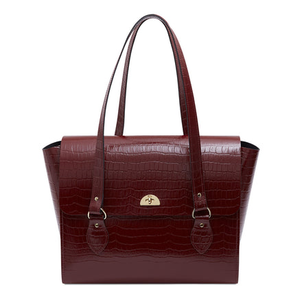 The Emily Tote - Oxblood Patent Croc | Cambridge Satchel