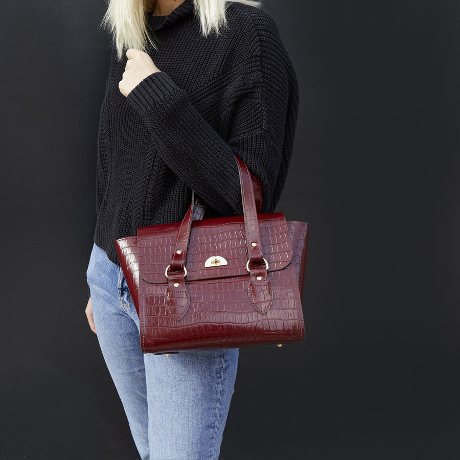 The Small Emily Tote Bag - Oxblood Patent Croc | Women's Leather Handbag