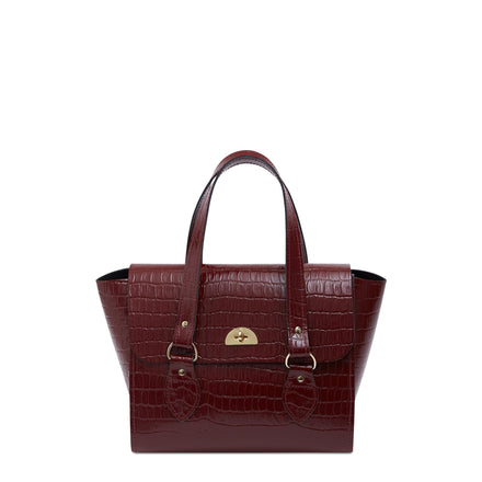 The Small Emily Tote - Oxblood Patent Croc | Cambridge Satchel