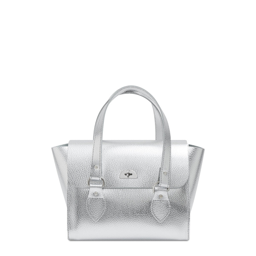 The Small Emily Tote - Silver Metallic Foil Celtic Grain | Women's Tote