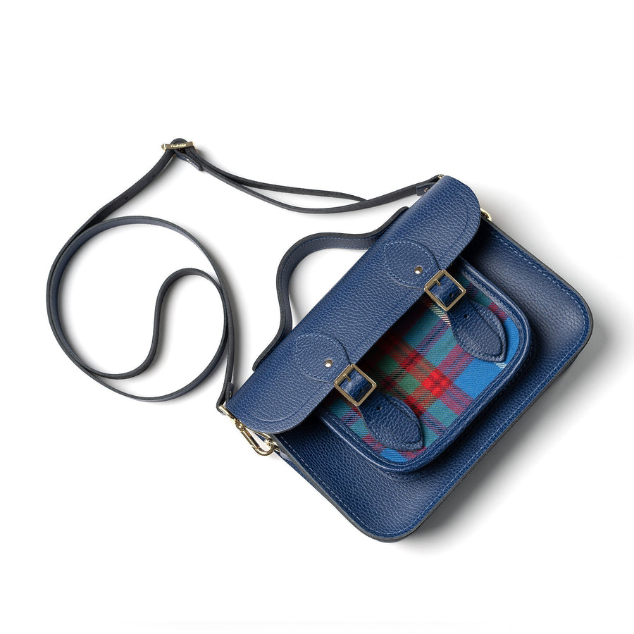 11 Inch Magnetic Batchel in Leather - Italian Blue Matte Celtic Grain with Edinburgh Tartan