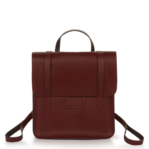 Folio Backpack in Saffiano Leather - Oxblood