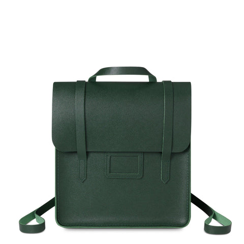 Folio Backpack in Saffiano Leather - Racing Green Saffiano