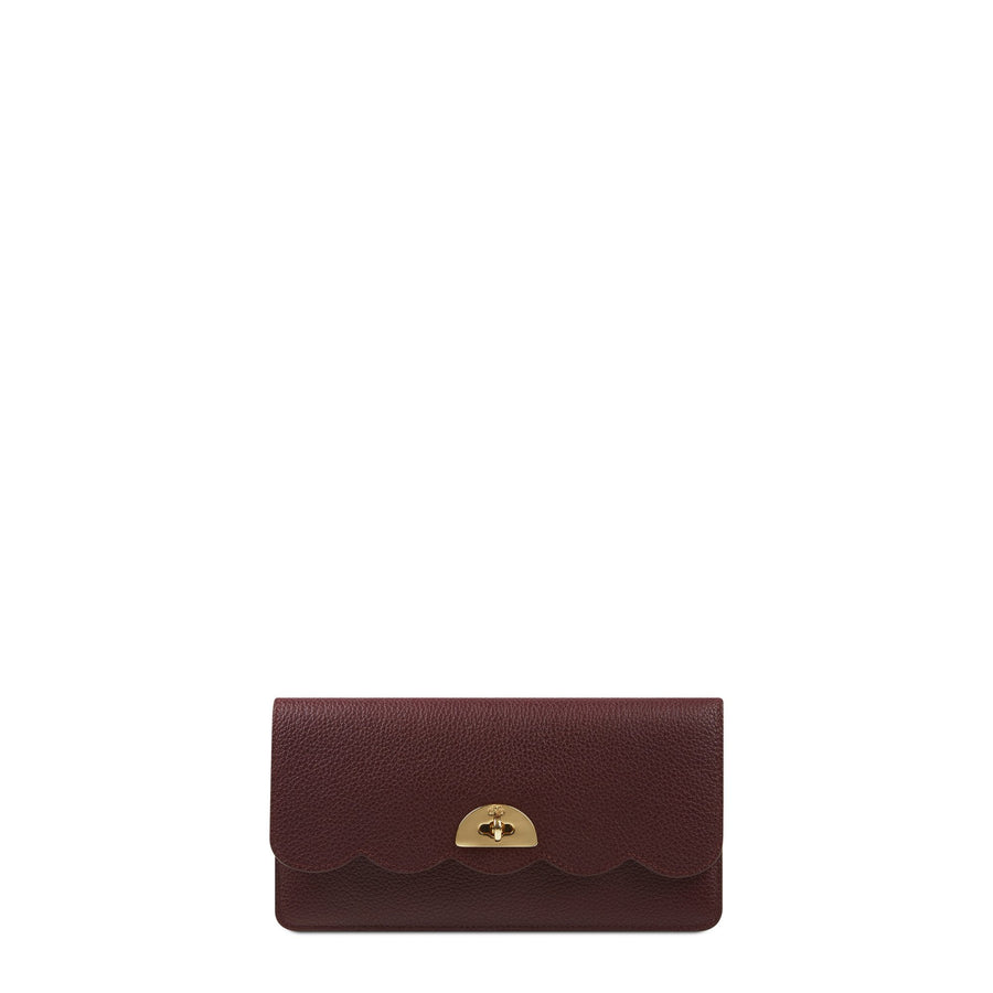 Large Cloud Purse with Card Slots in Grain Leather - Oxblood Grain