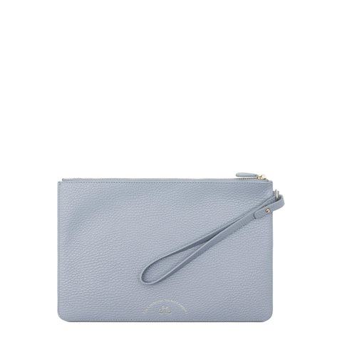 Clutch in Grain Leather - Lavender Blue