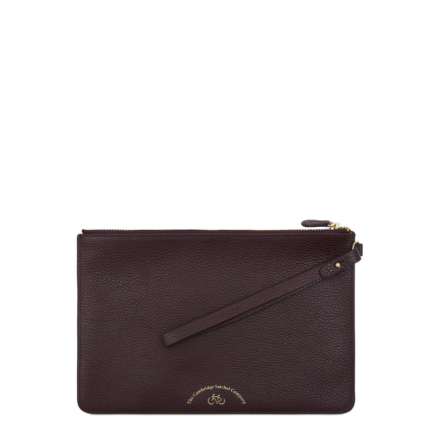 Clutch in Grain Leather - Oxblood