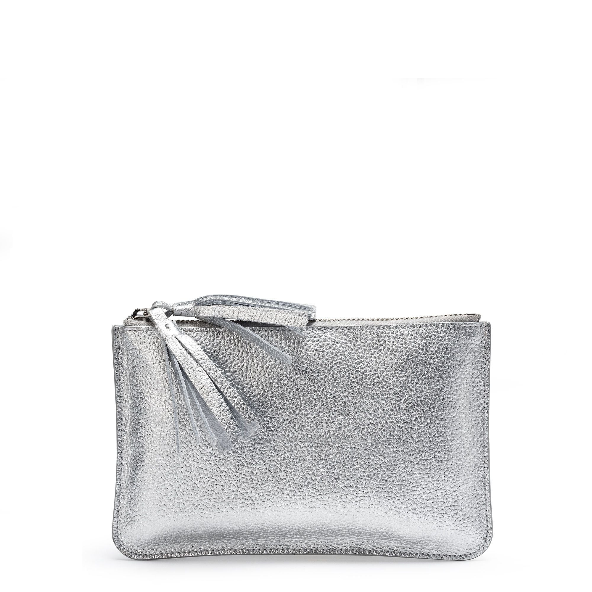 Flat Tassel Pouch in Grain Leather - Silver Grain