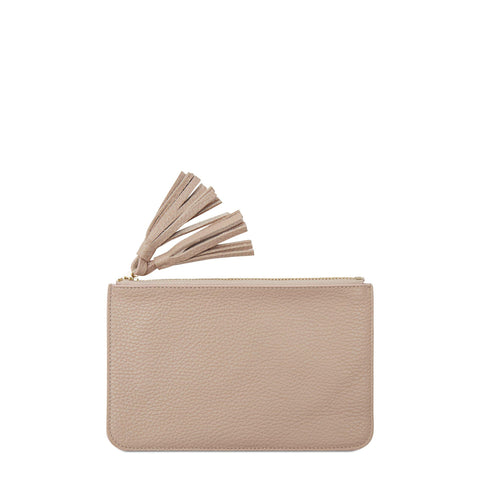 Flat Tassel Pouch in Grain Leather - Soft Pink