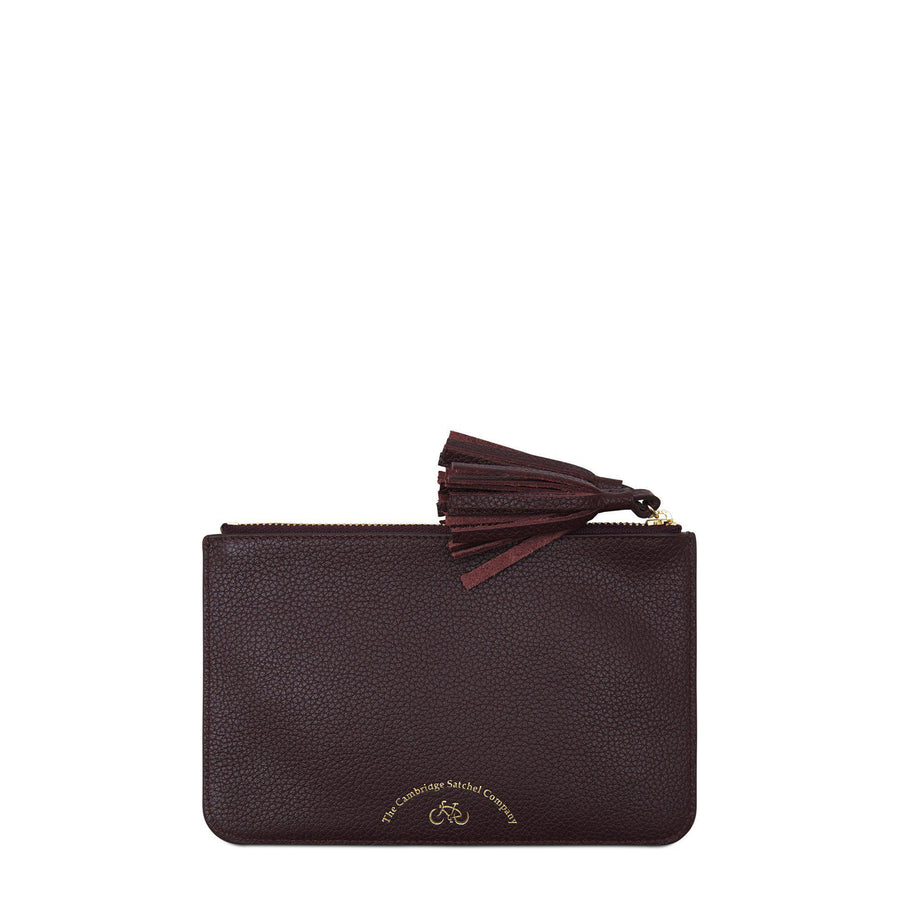 Flat Tassel Pouch in Grain Leather - Oxblood