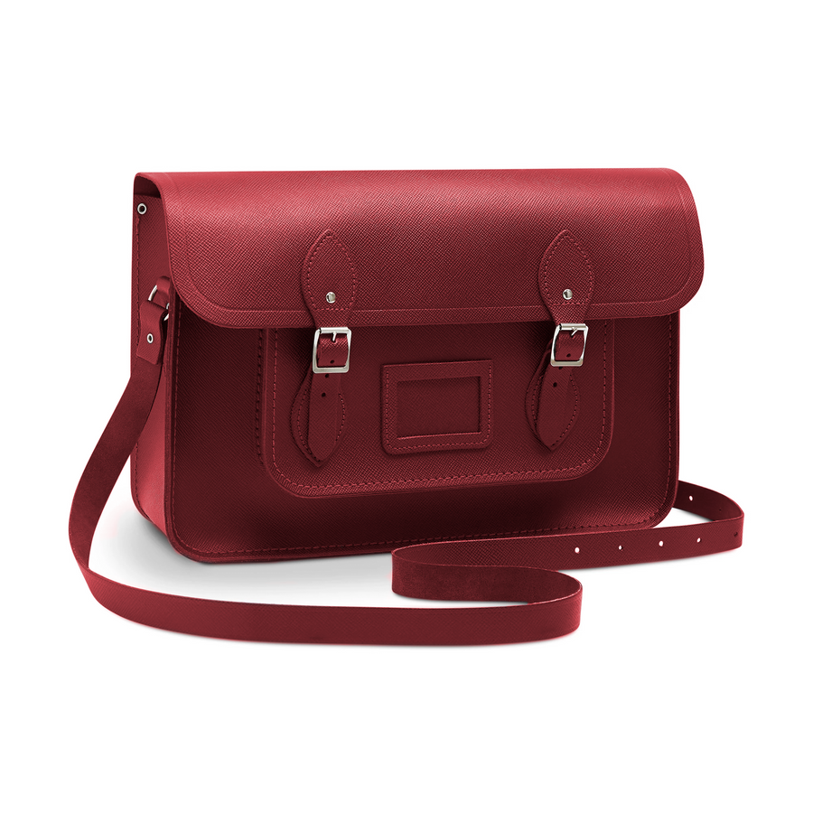 15 Inch Classic Satchel in Leather - Red Saffiano