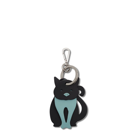 Cat Charm in Leather - Navy & Cambridge Blue