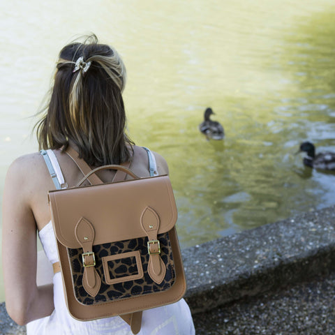 Small Portrait Backpack in Leather - Sand & Giraffe Haircalf