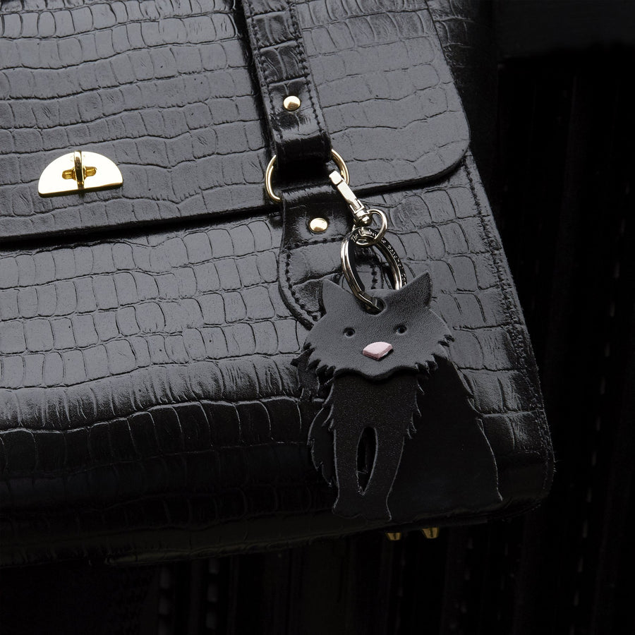 Ebony the Fluffy Cat Charm in Leather - Black Patent & Dusky Rose Saffiano