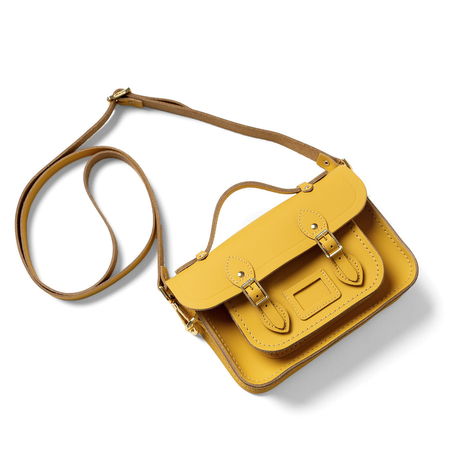 Yellow Mini Cambridge Satchel Leather Cross Body Bag