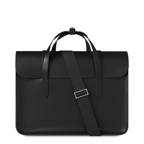 Large Folio Bag in Leather - Black