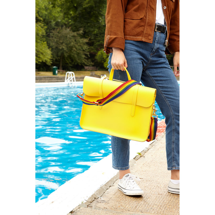 Womens- Music Case in Leather - Spectra Yellow with Rainbow Webbing Strap
