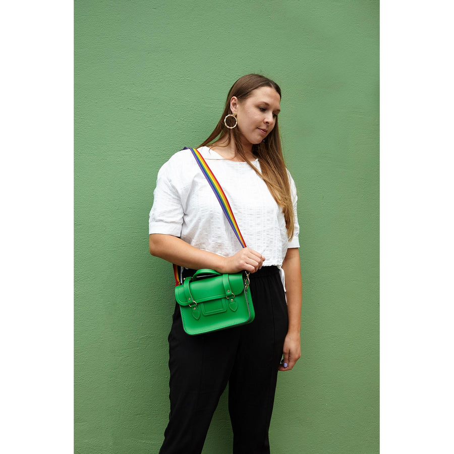 Melody Bag In Leather - Green with Rainbow Webbing Strap