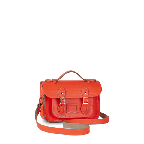 Magnetic Mini Satchel in Leather - Fluoro Red Croc