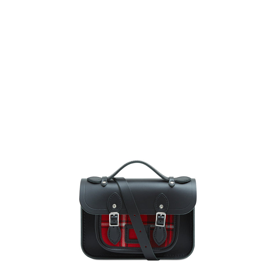 Magnetic Mini Satchel in Leather - Black with Strome Cunningham Tartan | Cambridge Satchel