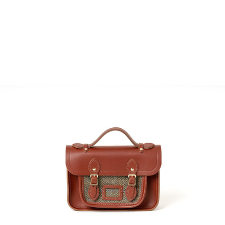 Magnetic Mini Satchel in Leather - Brandy with Green Tweed | Cambridge Satchel Company