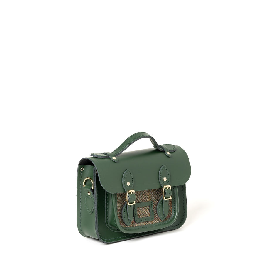 Green with Green Tweed Mini Cambridge Satchel Leather Cross Body Bag