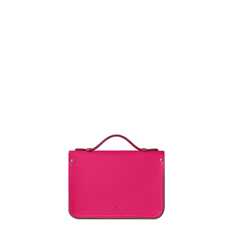 Magnetic Mini Satchel in Leather - Fluoro Pink