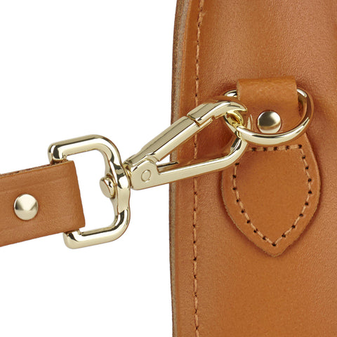 Magnetic Mini Satchel in Leather - Canyon
