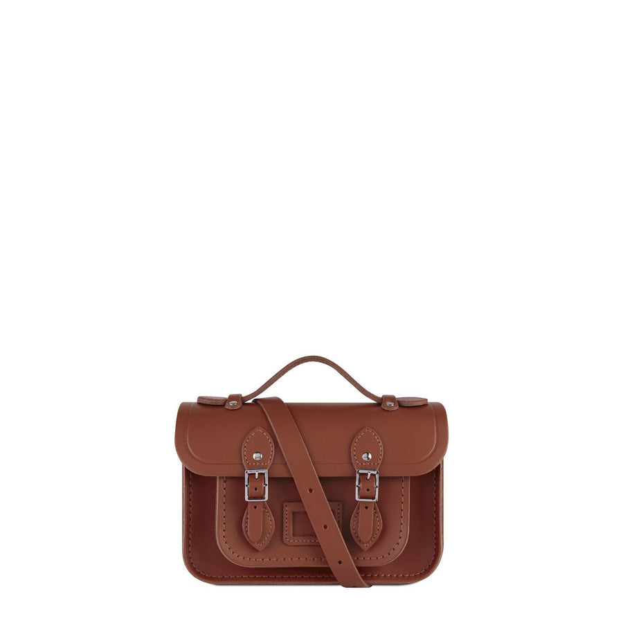Magnetic Mini Satchel in Leather - Russet