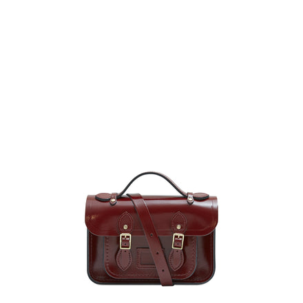 Magnetic Mini Satchel in Leather - Patent Oxblood