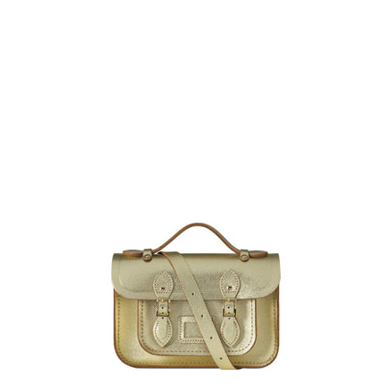 Magnetic Mini Satchel in Leather - Gold Saffiano