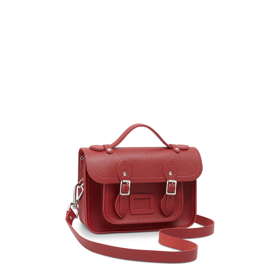 Magnetic Mini Satchel in Leather - Red Saffiano