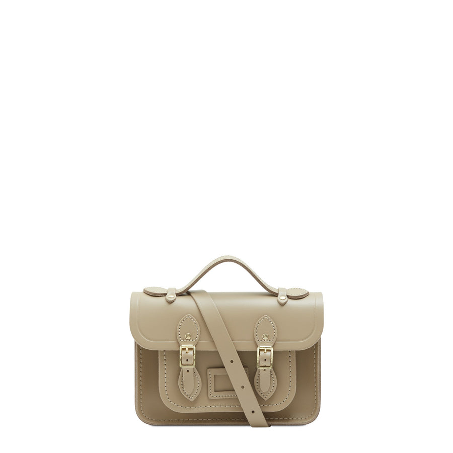 Mini Satchel in Leather - Sandstone | Women's Handbag & Cross Body Bag