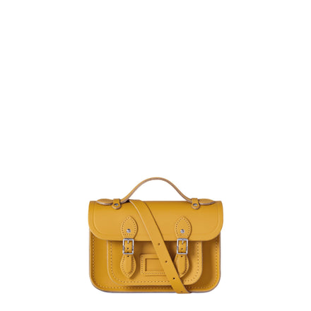 Magnetic Mini Satchel in Leather - Mustard Matte