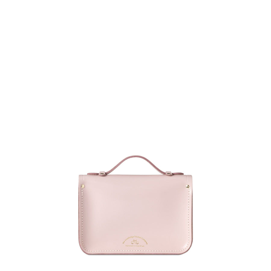 Magnetic Mini Satchel in Leather - Peach Pink Patent Saffiano