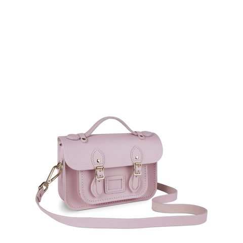 Magnetic Mini Satchel in Leather - Light Lilac