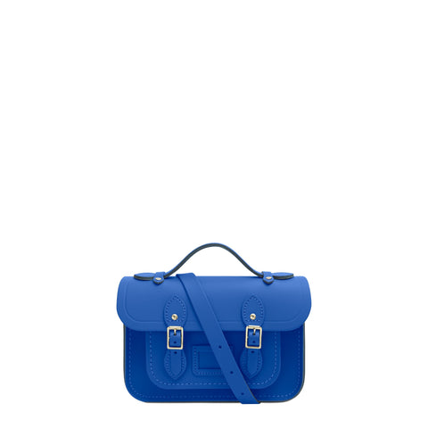 Magnetic Mini Satchel in Leather - Electric Cornflower Matte | Cambridge Satchel