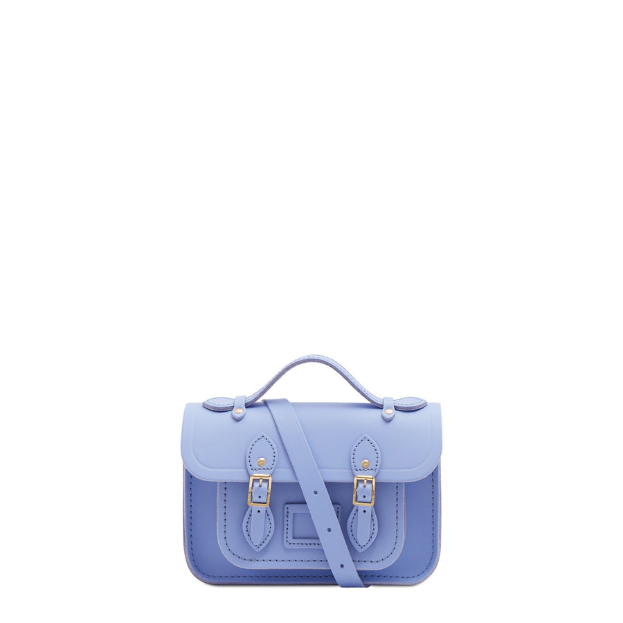 Magnetic Mini Satchel in Leather - Bluebell Matte