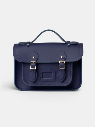 Navy Blue Small Leather Satchel Cross Body Handbag