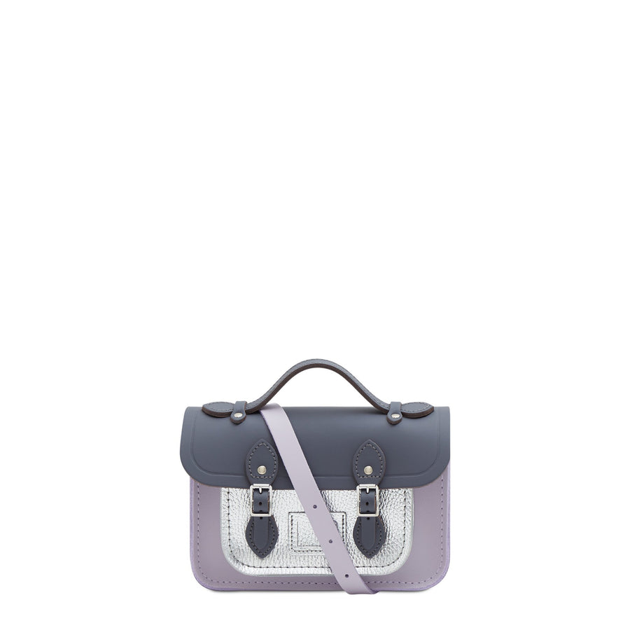 Magnetic Mini Satchel in Leather - Dapple Matte, Parma Violet Matte & Silver Celtic Grain | Women's Cross Body Bag