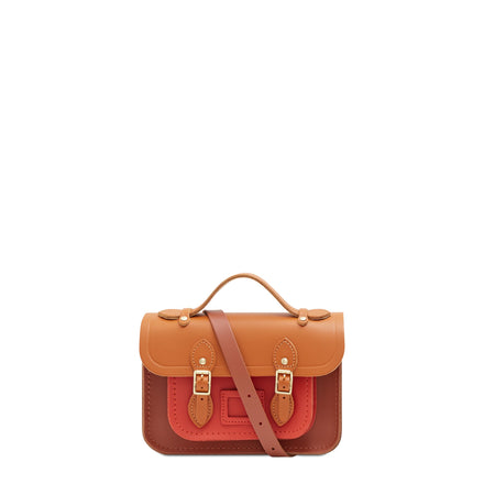 Magnetic Mini Satchel in Leather - Spice, Caramello & Nutmeg | Women's Handbag & Cross Body
