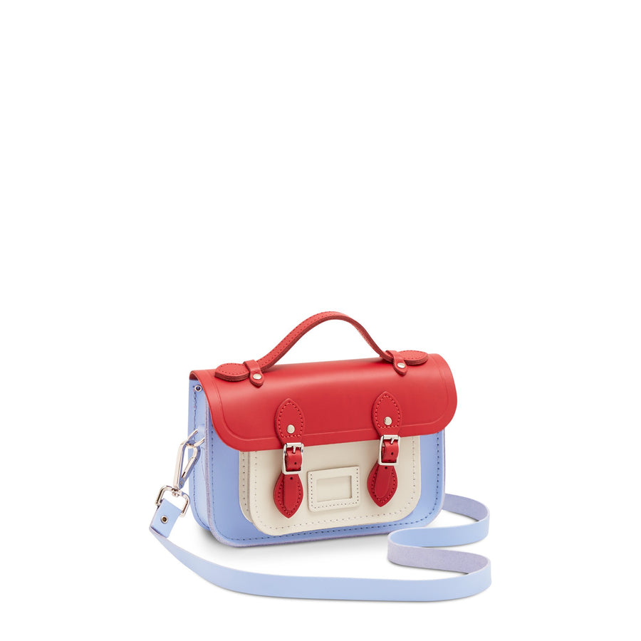 Magnetic Mini Satchel in Leather - Red Berry, Snowdrop & Bluebell Matte
