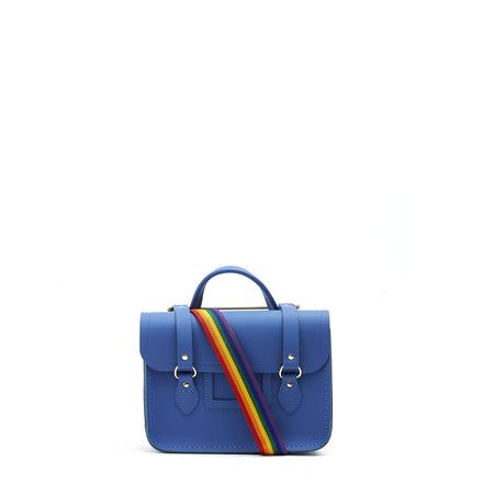 Melody Bag In Leather -  Italian Blue Matte & Rainbow Webbing Strap | Cambridge Satchel Company