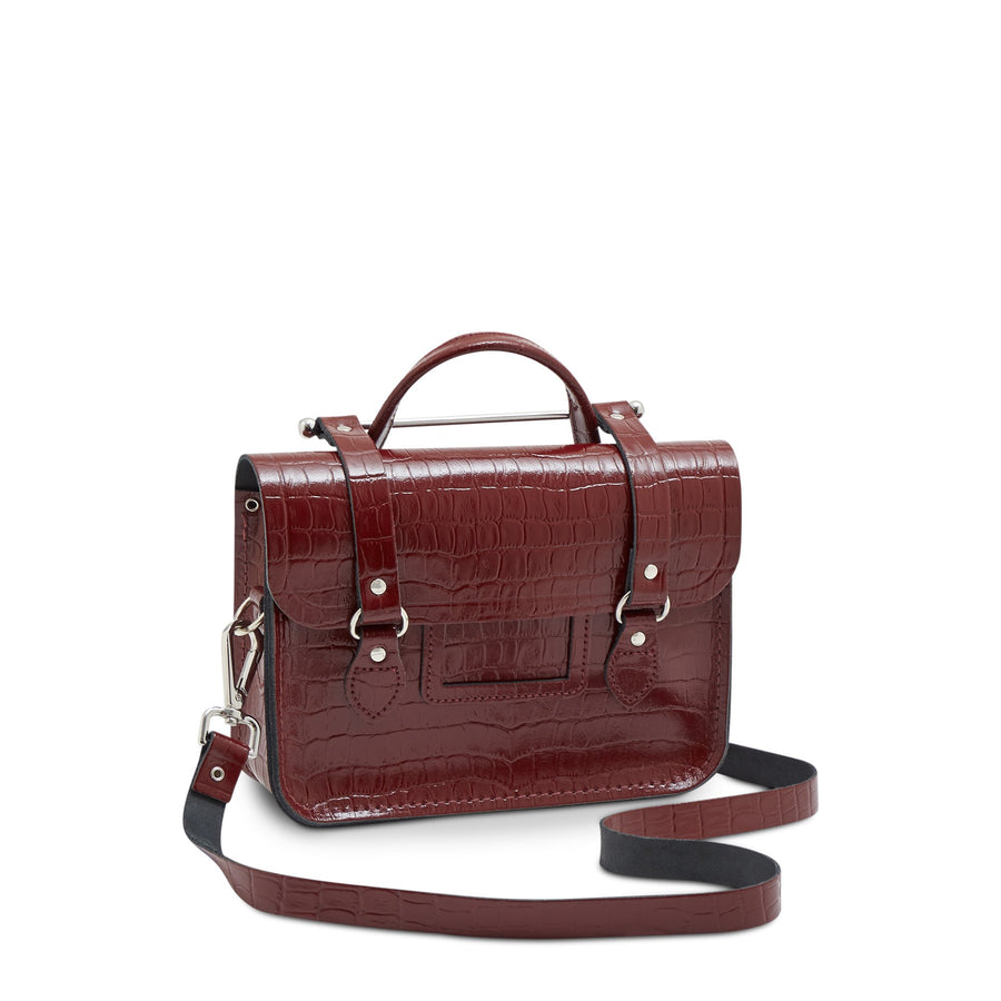 Melody Bag In Leather - Oxblood Patent Croc