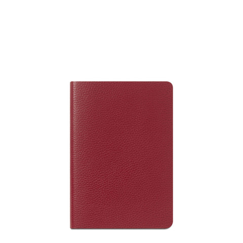 A5 Notebook in Leather - Crimson Grain