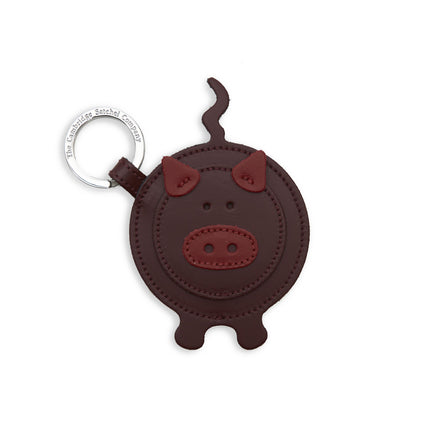 Year of the Pig Charm in Leather - Oxblood & Red