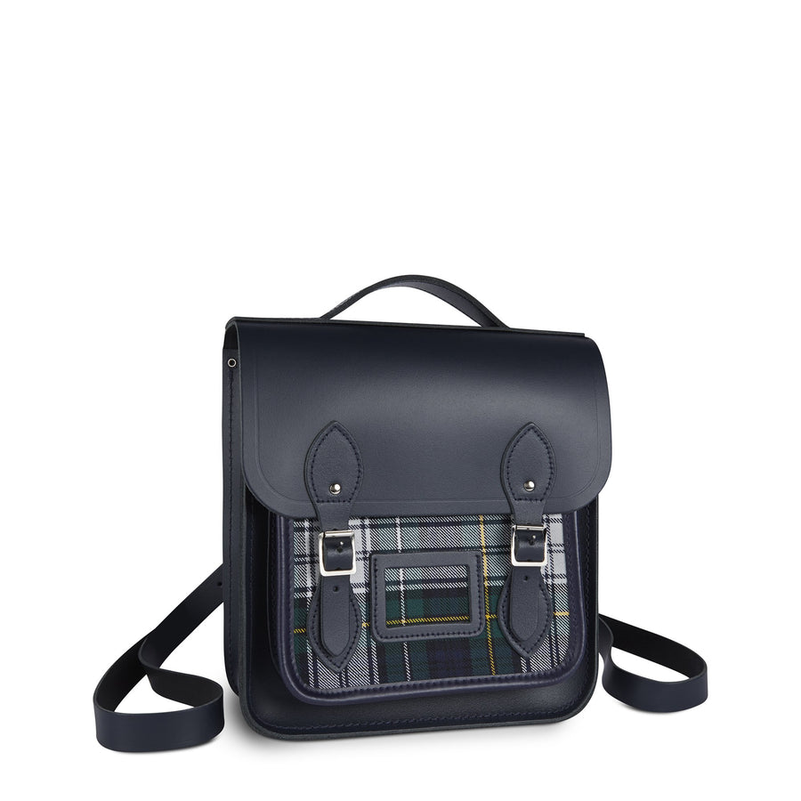 Small Portrait Backpack in Leather - Navy with Green Tartan