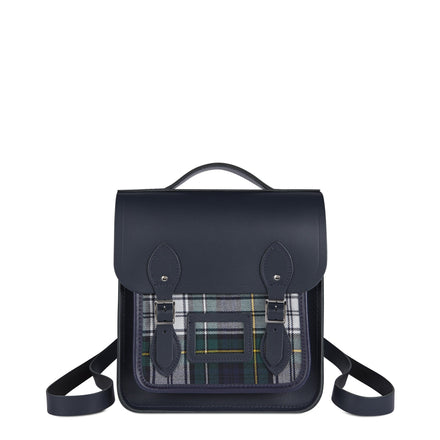 Small Portrait Backpack in Leather - Navy & Navy Tartan