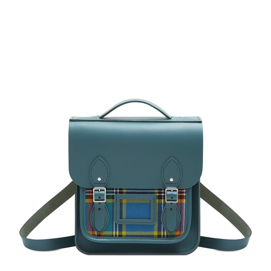 Small Portrait Backpack in Leather - Fir with Strome Macbeth Tartan | Cambridge Satchel
