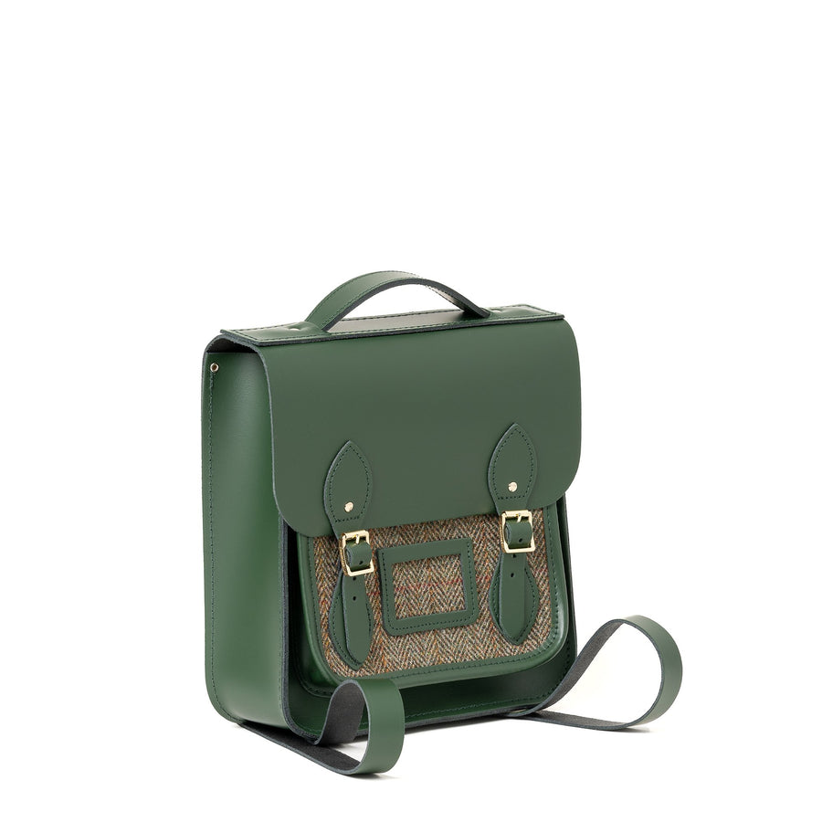 British Racing Green with Tweed Small Leather Backpack Cambridge Satchel