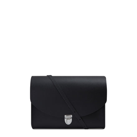 Large Push Lock in Leather - Black Saffiano